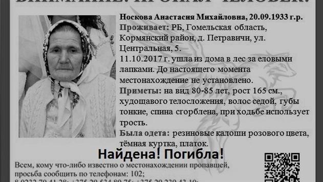 В Кормянском районе нашли погибшей заблудившуюся в лесу пенсионерку