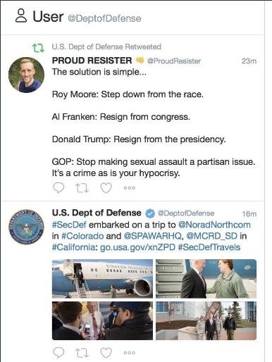 Призыв к отставке Трампа ошибочно ретвитнул Пентагон